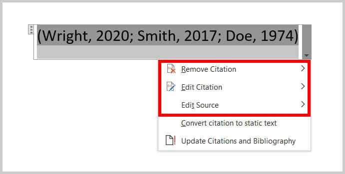 Citation Options menu in Word 365