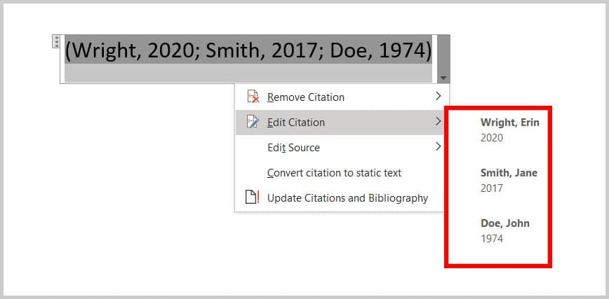 Citation Options source menu
