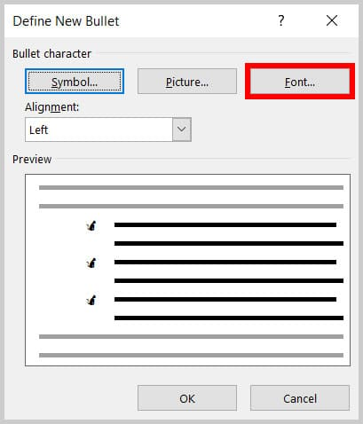 Font button in the Define New Bullet dialog box in Word 365