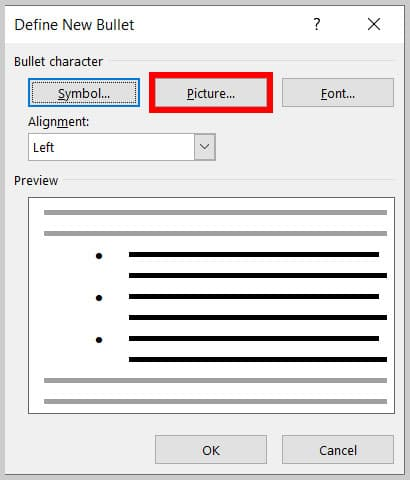 Picture button in the Define New Bullet dialog box in Word 365