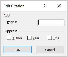 Edit Citation dialog box in Word 365