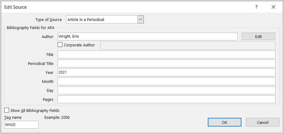 Edit Source dialog box in Word 365