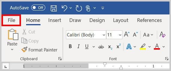File tab in Word 365