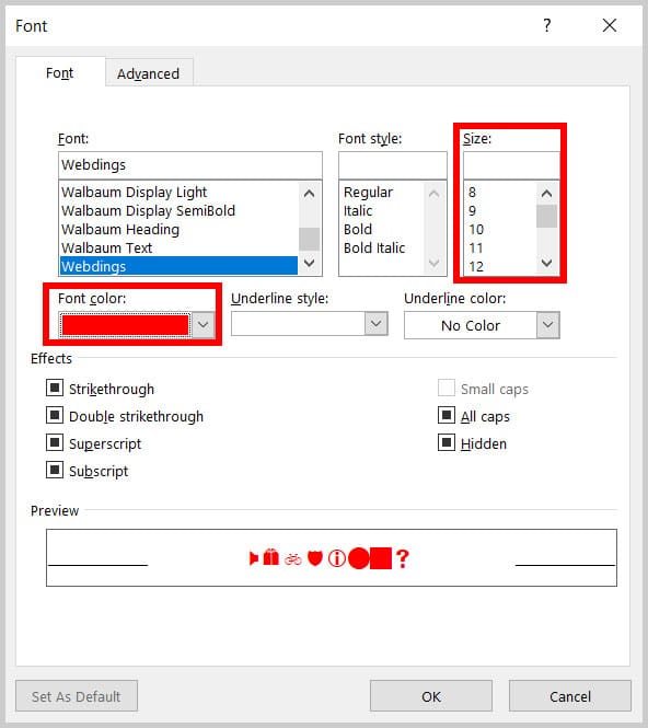 Font dialog box in Word 365