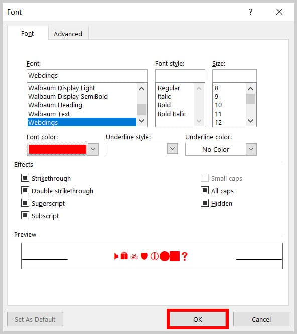 OK button in the Font dialog box in Word 365