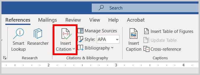 Insert Citation button in Word 365