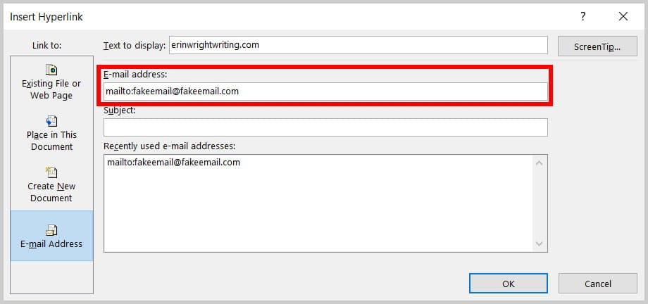 E-mail address text box in the Insert Hyperlink dialog box in Word 365