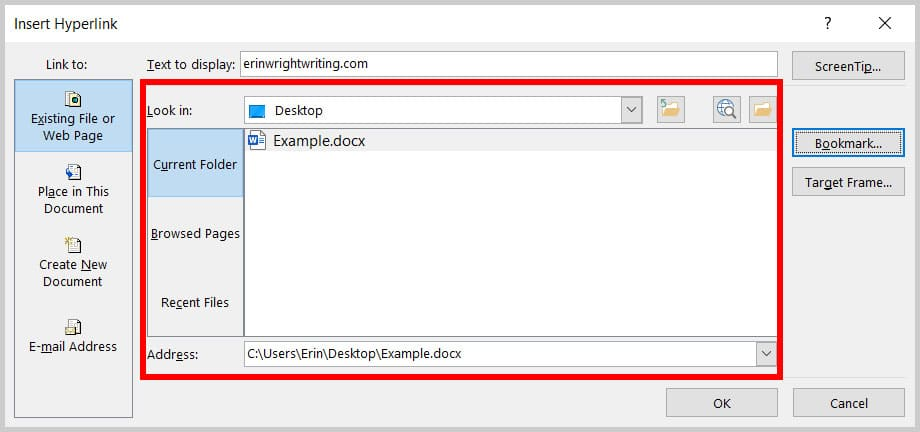 """Look in"" section in the Insert Hyperlink dialog box in Word 365"