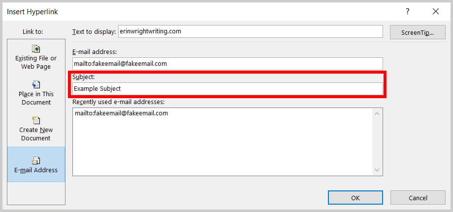 Subject text box in the Insert Hyperlink dialog box in Word 365