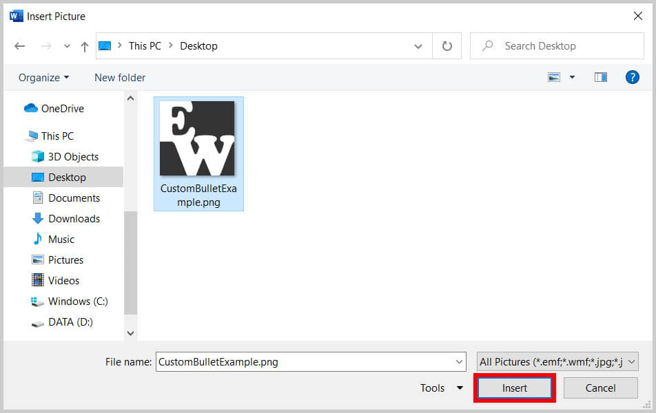 Insert button in the Insert Picture dialog box in Word 365