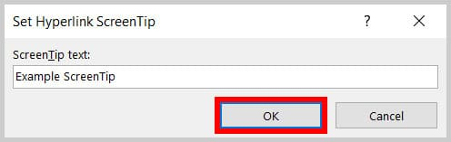 OK button in the Set Hyperlink ScreenTip dialog box in Word 365
