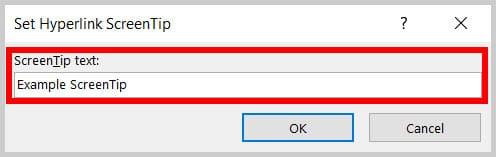 Set Hyperlink ScreenTip dialog box in Word 365