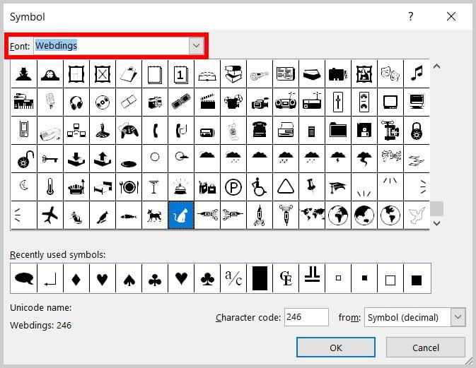 Font menu in the Symbol dialog box in Word 365