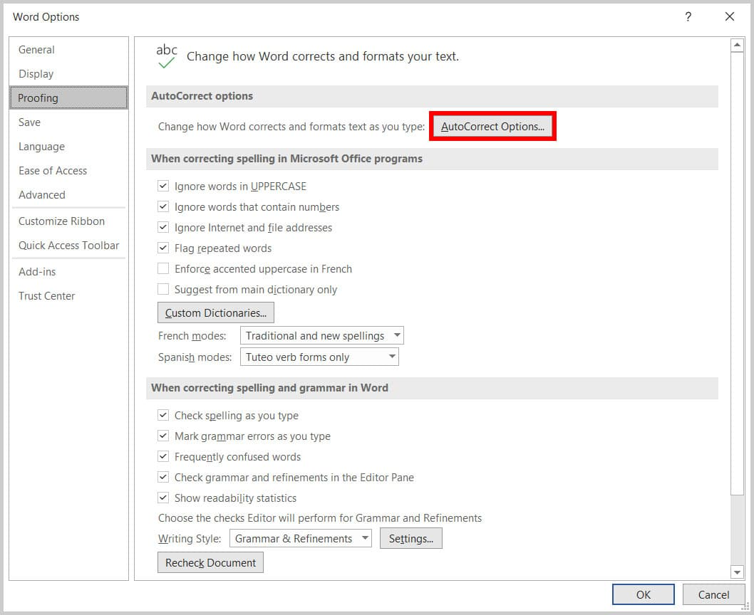 AutoCorrect Options button in Word 365