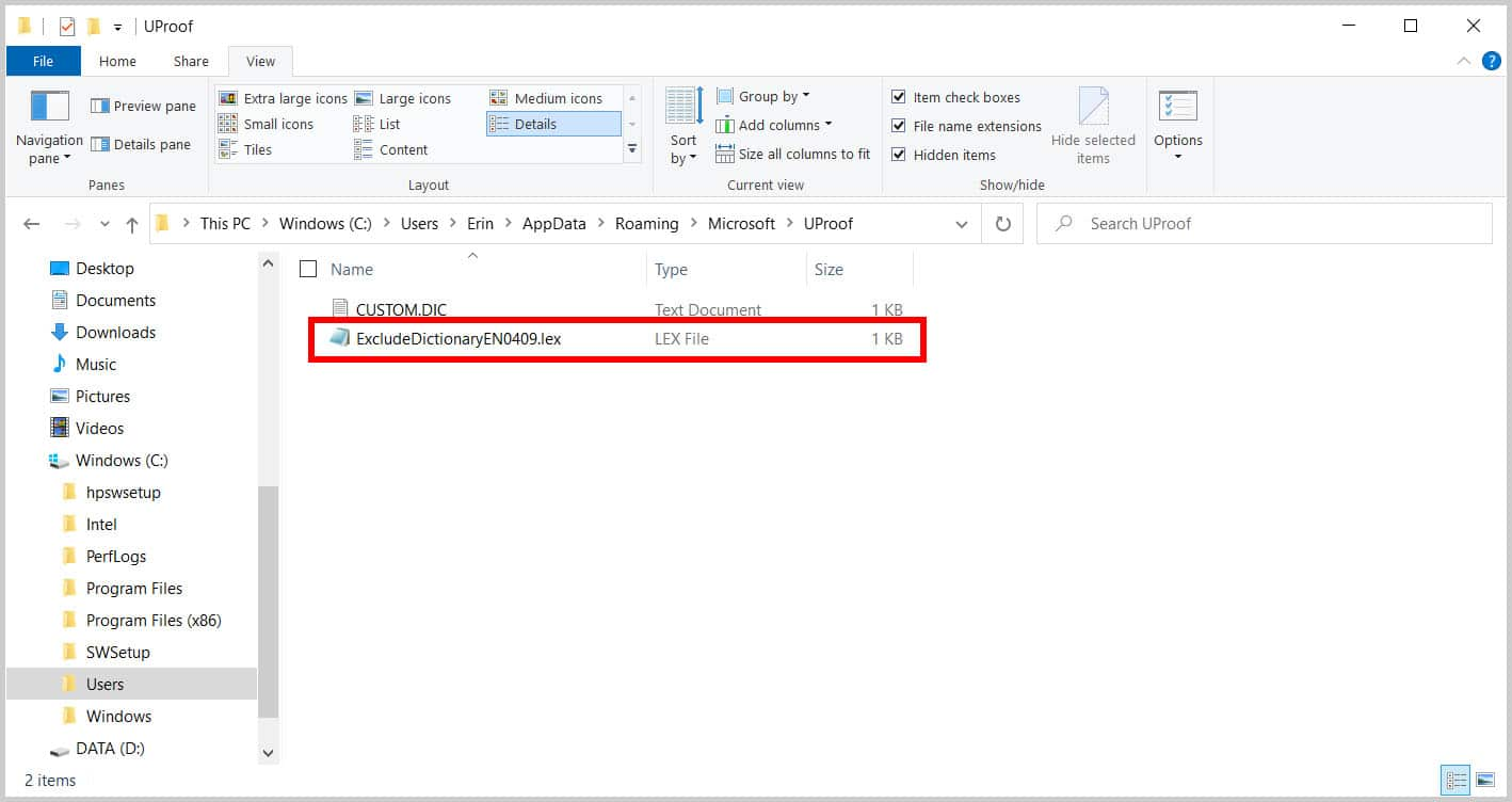 ExcludeDictionary file in the File Explorer