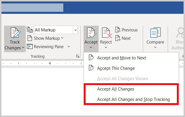 """""""Accept All Changes"""" and """"Accept All Changes and Stop Tracking"""" options in Word 365"""