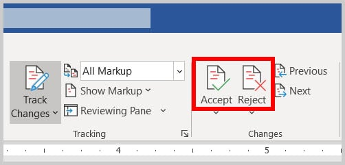 Accept and Reject buttons in Word 365