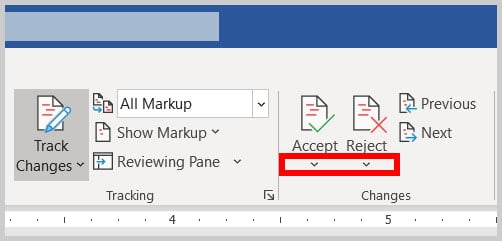 Accept and Reject menu arrows in Word 365