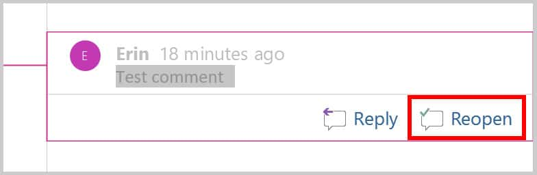 Comment balloon Reopen button in Word 365