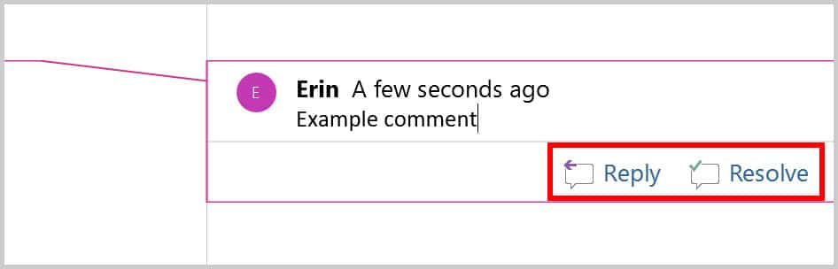 Comment balloon Reply and Resolve buttons in Word 365