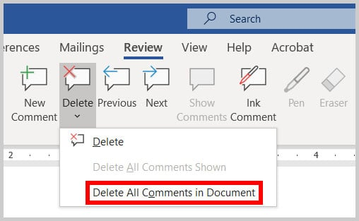 Delete All Comments in Document in Word 365