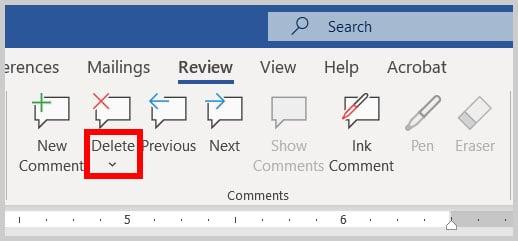 Delete menu arrow in Word 365