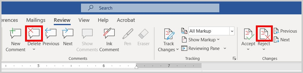 Delete and Reject buttons in Word 365