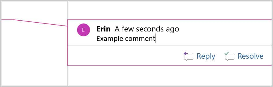 Example comment in Word 365