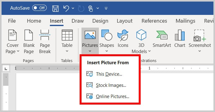 Insert Picture From menu in Word 365
