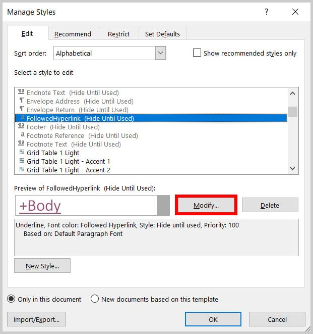 Modify button in the Manage Styles dialog box in Word 365