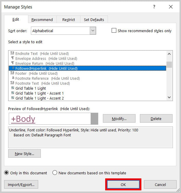OK button in the Manage Styles dialog box in Word 365