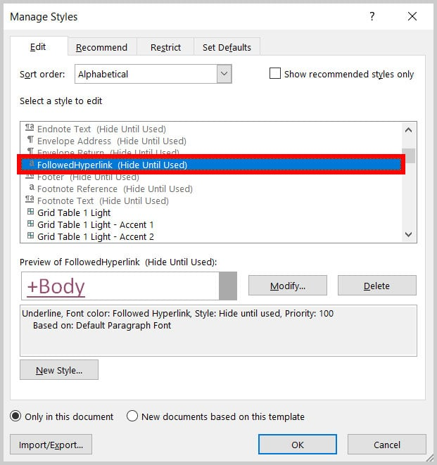 """""""Select a style to edit"""" menu in the Manage Styles dialog box in Word 365"""