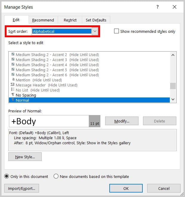 Sort Order menu in the Manage Styles dialog box in Word 365