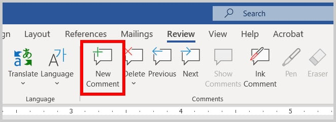 New Comment button in Word 365
