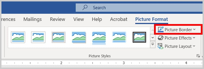 Picture Border button in Word 365