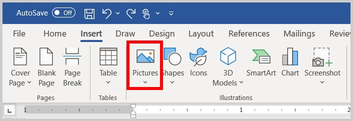 Pictures button in Word 365