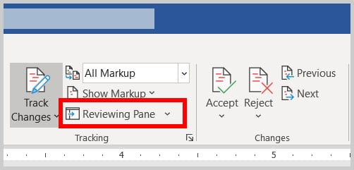 Reviewing Pane button in Word 365