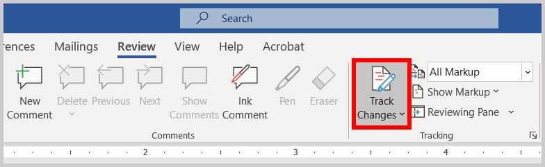 Track Changes button in Word 365