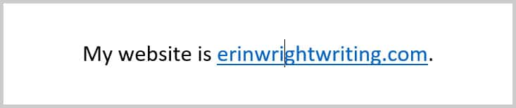 Example of unfollowed link in Word 365