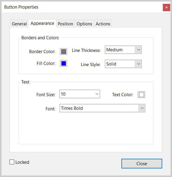 Button Properties dialog box appearance options in Adobe Acrobat