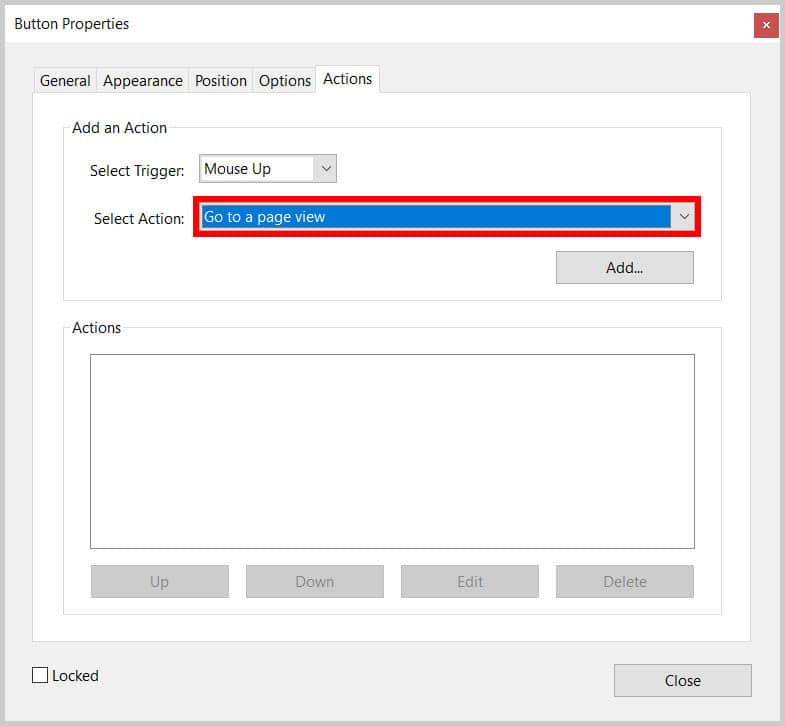"Button Properties dialog box ""Go to a page view"" option in Adobe Acrobat"