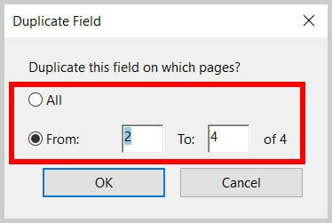 Duplicate Field dialog box All and From options in Adobe Acrobat