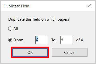 Duplicate Field OK button in Adobe Acrobat