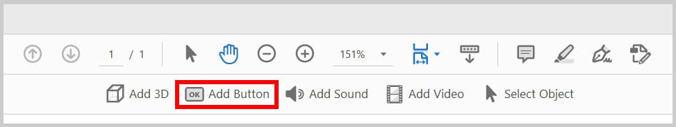 Add Button button in Adobe Acrobat