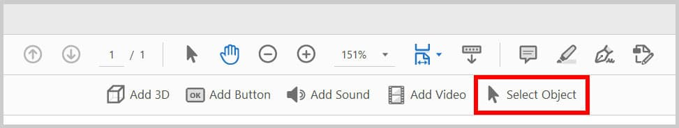 Select Object button in the Rich Media toolbar in Adobe Acrobat