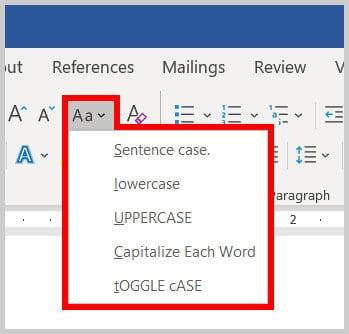 Change Case menu in Word 365