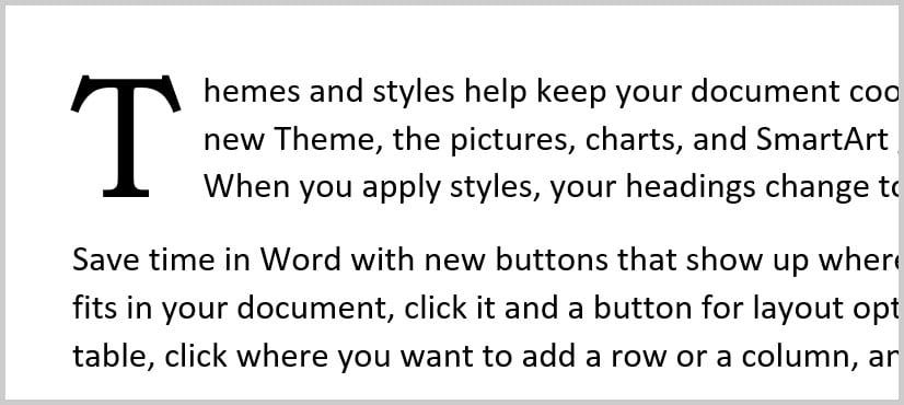 Drop cap example in Word 365