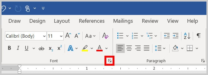 Font group dialog box launcher in Word 365