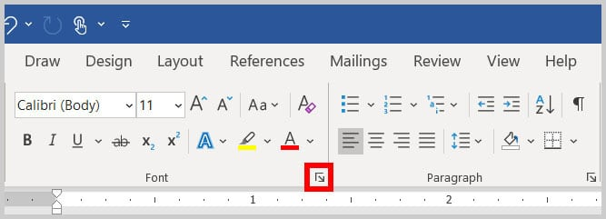 Font dialog box launcher in Word 365