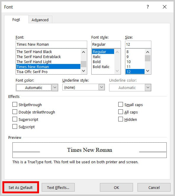 Set As Default button in the Font dialog box in Word 365